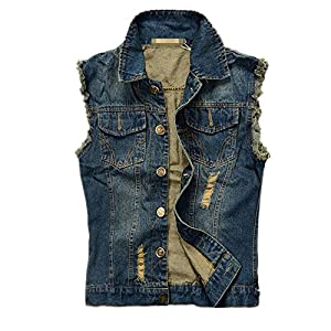 Men's Brush Frazzle Denim Jean Vest Button up Motorcycle Jacket