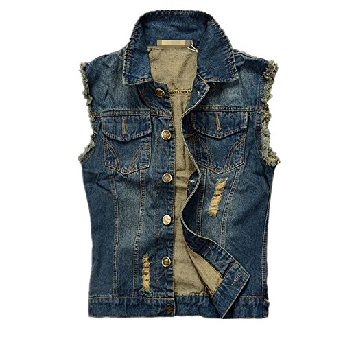 Hzcx Fashion mens brush frazzle denim jean vest button up motocycle jacket 2016-03-23-01-p45-US L(44)TAG 6XL