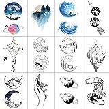 WYUEN 12 PCS/lot Mountain Planet Temporary Tattoo Sticker for Women Men Fake Tatoo Body Art Adult Waterproof Sticker 9.8X6cm W12-20