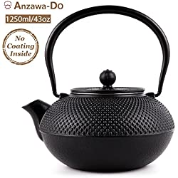 Suteas Cast Iron Teapot Japanese Tetsubin Durable Cast Iron Tea Kettle with Stainless Steel Infuser 43oz 1250ml