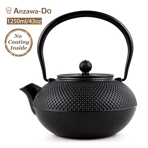 Suteas Cast Iron Teapot Japanese Tetsubin Durable Cast Iron Tea Kettle with Stainless Steel Infuser 43oz 1250ml (Tetsubin Iron Teapot Cast)