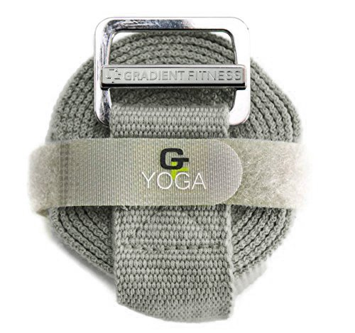Gradient Fitness Yoga Strap, Friction-less Easy-Feed Buckle, Super Soft Cotton/Polyester Blend Webbing, Free eGuide. (8 Feet) (Cotton Blend Belt)