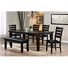 Saky Casual 6 Pieces Dining Set in Wenge Finish