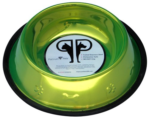Platinum Pets 6.25 Cup Corona Lime Stainless Steel Embossed Non-tip Dog Bowl, My Pet Supplies