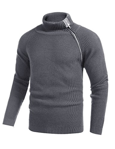 Coofandy Men's Hipster Hip Hop Ribbed Turtleneck Sweater Knitted Zipper Overcoat Long-Line Raglan Sleeve Pullover (Grey, Medium)