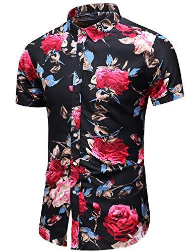 LEFTGU Men's Slim fit Floral Printed Short-Sleeve Button-Down Dress Shirt (XX-Large Chest: 52.8 inch, Short Black red 9899)