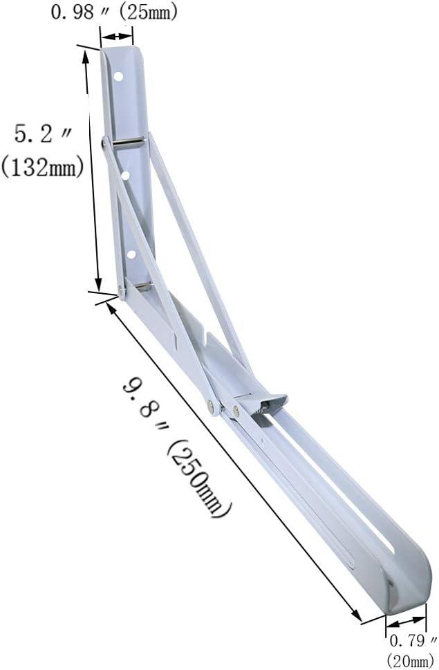 Boeray 10 Folding Shelf Bracket Carbon Steel Triangle Wall Mount Support White Heavy Duty Paint Bench Table Shelf Brackets 90 Degree Hinge Shelves Tables 132 lb 60KG Load Pack of 2
