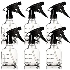 Youngever 6 Pack Empty Plastic Spray Bottles, Spray Bottles for Hair and Cleaning Solutions in 3 Colors (8 Ounce)