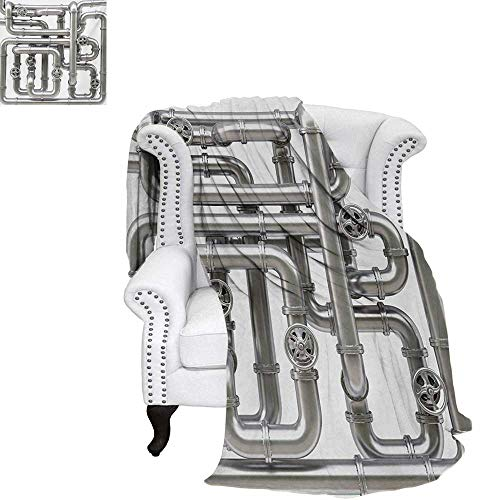 warmfamily Industrial Velvet Plush Throw Blanket Maze of Pipelines Faucets and Valve Gasoline Engineering Themed Print Throw Blanket 60