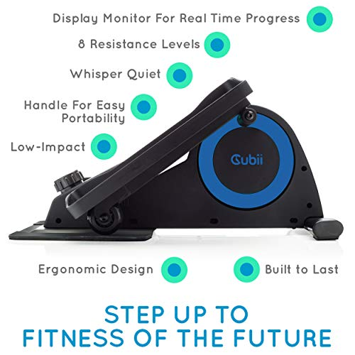 Cubii Jr: Desk Elliptical with Built in Display Monitor, Easy Assembly, Quiet & Compact, Adjustable Resistance (Royal Blue) by Cubii (Image #2)