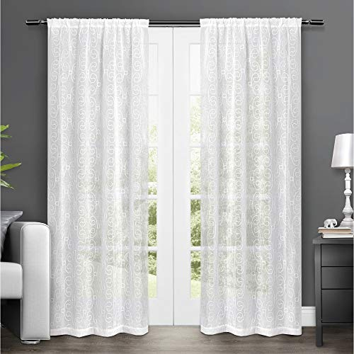Exclusive Home Curtains Salzberg Embroidered Sheer Rod Pocket Window Curtain Panel Pair, Winter White, - Embroidered Drapes Barn Pottery