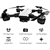 ElementDigital 19HW RC Drone 2.4G Selfie Drone Wifi FPV RC Quadcopter RTF 0.3MP Camera Altitude Hold One Key Return G-sensor Headless Mode 3D Flips Foldable Drone with Transmitter APP Phone Control