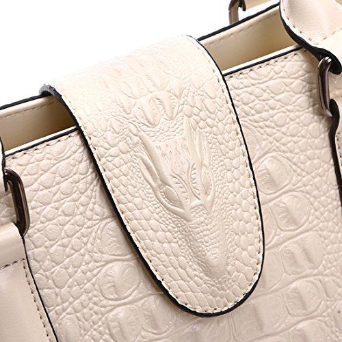 Top Shoulder White Handbag Bag Blue KAXIDY Grain Leather Handbags Handle Women Ladies Crocodile Genuine ROxwq8zFpw