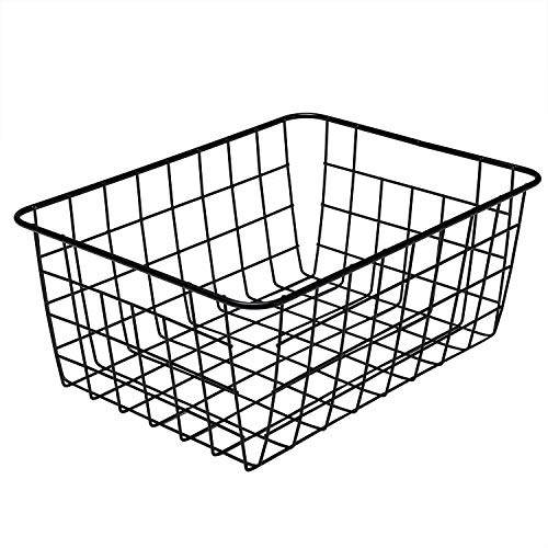 Metal Wire Food Storage Organizer Bin Basket with Handles - Black (Handles With Baskets Metal Small)