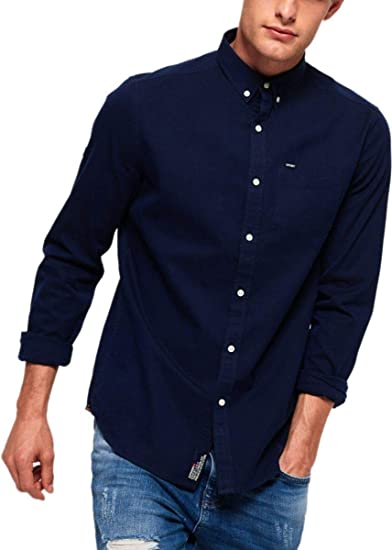 5daeca9a Superdry Ultimate Herringbone Button Down L/S Shirt Indigo Blue 17G:  Amazon.co.uk: Clothing