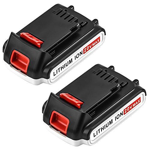 LBXR20 2000mAh Replace for Black and Decker 20V Battery 20 Volt MAX Lithium Ion LBXR20 LB20 LBX20 LBXR2020-OPE LBXR20B-2 LB2X4020-2 Packs