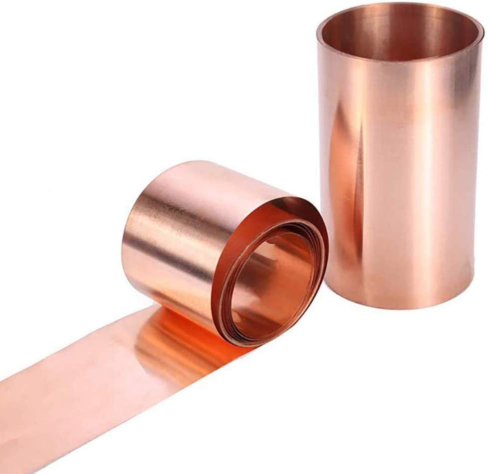 Dumadf 99.9/% Pure Cu Metal Plates Copper Sheet High Purity Foil Panel Practical Home Industry Supply,100x1000mm,Thickness 0.05mm