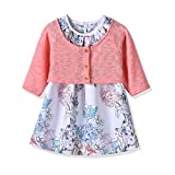 Ferenyi's Baby Girl's Clothes Long-sleeved Jacket With Floral Dress Sets (17-24 Months, Pink 2)