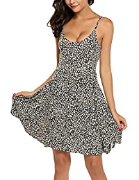 Womens Spaghetti Beach Slip Dress Sleeveless Sundress Adjustable Strappy Flared Swing Dress
