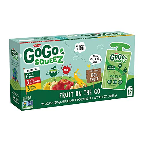 GoGo squeeZ Applesauce on the Go, Variety Pack (Apple/Banana/Strawberry), 3.2 Ounce (12 Pouches), Gluten Free, Vegan Friendly, Unsweetened Applesauce, Recloseable, BPA Free Pouches