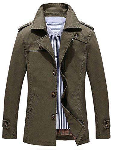 Mens Single Breasted Jacket (Sawadikaa Men's Single-Breasted Cotton Lightweight Jacket Windbreaker Wind Trench Coat Bomber Jacket Army Green Medium)