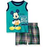 Disney Baby Boys' 2 Piece Mickey Mouse Plaid Short Set, Green, 24m