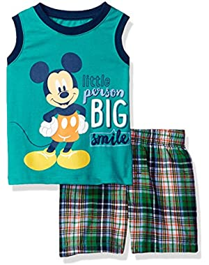 Disney Baby Boys' 2 Piece Mickey Mouse Plaid Short Set