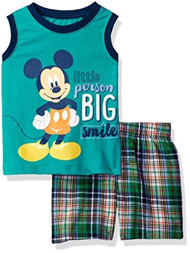 Disney Baby Boys 2 Piece Mickey Mouse Plaid Short Set