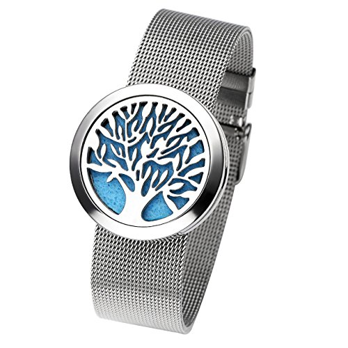 Jovivi 316L Stainless Steel Tree of Life Openable Aromatherapy Essential Oils Diffuser Locket Bracelet Bangle with 6 Felt ()