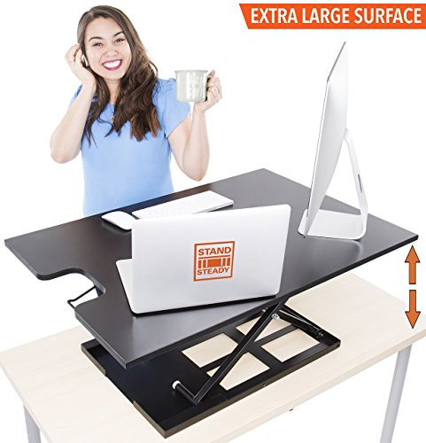 X-Elite Standing Desk by Stand Steady - Instantly Convert any Surface to a Stand Up Desk! Large Sit to Stand Desk Converter (Black)! (X-Elite XL) (Office Table Elite)