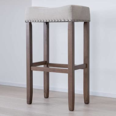Nathan James  Hylie Nailhead Wood Pub-Height Kitchen Bar Stool, 29 , Light Brown