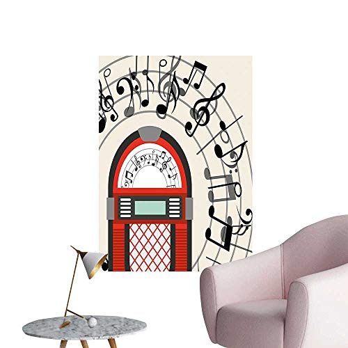 (Wall Decals Old Vintage Radio Music Box y Not Work Black White Grey and Red Environmental Protection Vinyl,28