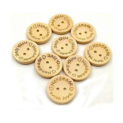 Vivian 2 Holes Wooden Sewing Buttons Scrapbook DIY Handmade Button Craft Pack of 100 PCS (15MM, With Love)