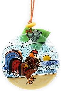 Happy Aloha Rooster at The Beach Hawaiian Christmas Recycled Glass Suncatcher Ornament