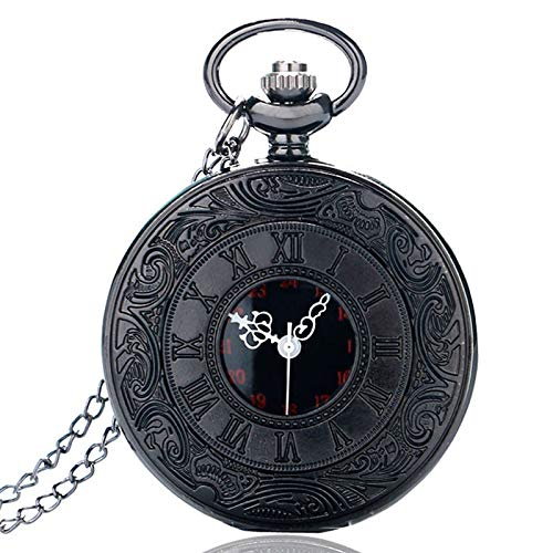 Pocket & Fob Watches - Vintage Black Roman Number Quartz Pocket Watch Men Necklace Pendant Fob Men Women Watches Gift Ship from US Epacket Dropshipping - by Tini - 1 PCs ()