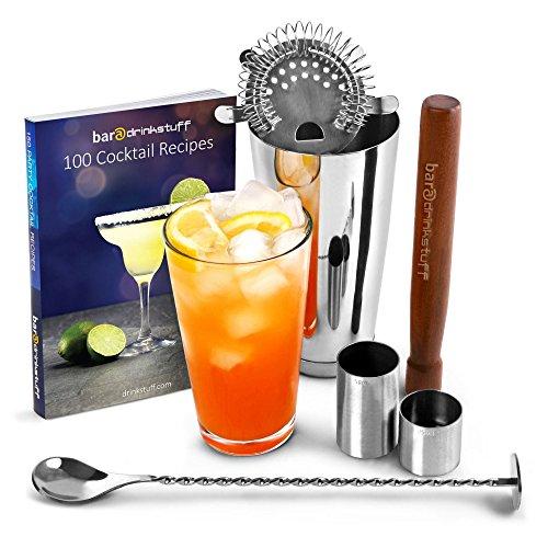 Startseite Cocktail Set Cocktail-Buch der Bar @ Getränk stuff   Cocktail Set Edelstahl - bestehend aus Edelstahl Mixbecher mit Boston Zinn und Glas, Cocktail Book (in Englisch), Hawthorne Cocktailsieb, ram, Verdreht Bar Löffel, 25ml und 50ml Thimble Jigger
