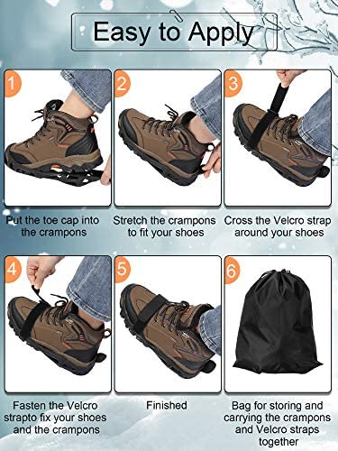 Ice Cleats 24 Alloy Spikes Ice Snow Grippers Non-Slip Over Shoe Rubber Spikes Crampons with 2 Nylon Fixing Straps and Storage Bag for Walking Jogging Hiking Climbing