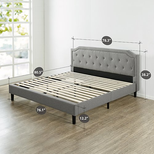 Zinus Upholstered Scalloped Button Tufted Platform Bed with Wooden Slat Support / Design Award Finalist, King