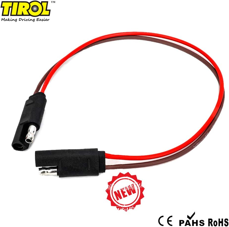"""TIROL Trailer Plug Wire 2 Pin Trailer 12/"""" Extension 218 AWG Cable America Trailer Connector for LED Trailer Lights"""