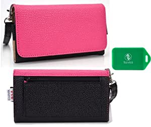 Sony C5503 Universal Ladies wristlet wallet in [TWO-TONED] BLACK/MAGENTA Plus bonus Neviss luggage tag