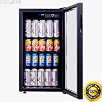 COLIBROX--120 Can Beverage Refrigerator Beer Wine Soda Drink Cooler Mini Fridge Glass Door. commercial beverage refrigerator glass door. glass door refrigerators for sale.commercial freezers for sale.