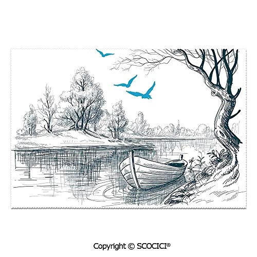 SCOCICI Set of 6 Durable Polyester Place Mats Heat Resistant Table Mats Boat on Calm River Trees Birds Twigs Sketch Drawing Clipart Water Minimalistic for Party Kitchen Dining Table