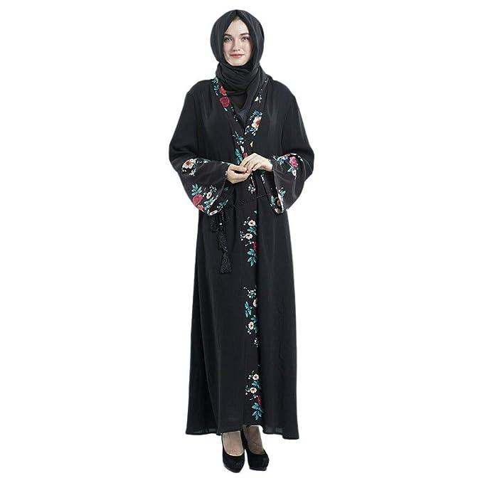 Hzjundasi Vestido de Musulmana Islámica Afghan Abaya para Mujer - Iglesia Maxi Vestidos de Verano Manga Larga Flor de Impresion Pakistán árabe Turquía Dubai ...