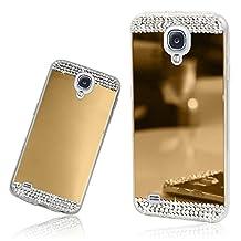 Xtra-Funky Range Samsung Galaxy S4 Slim TPU Silicone Shiny Mirror Case with Sparkly Crystal Diamante Rhinestones - Gold