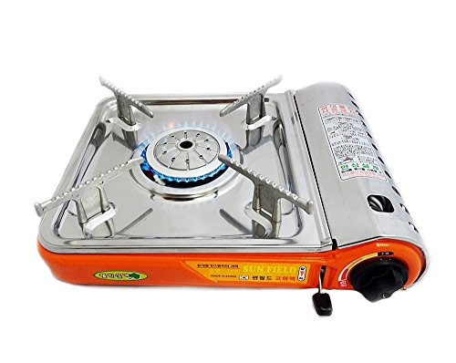 Excelife 87220 Portable Stainless steal Gas Stove with case, Silver