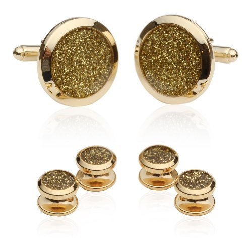 Cuff-Daddy Mens Gold Diamond Dust Tuxedo Cufflinks and Studs with Presentation Box