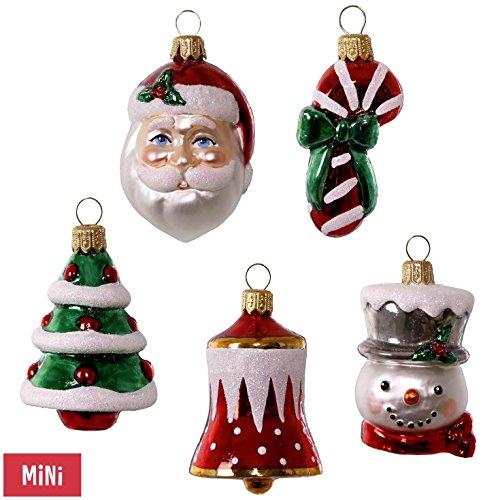 Blown Glass Ornament Mini (Hallmark Keepsake 2017 Symbols of the Season Premium Mini Blown Glass Christmas Ornaments, Set of 5)