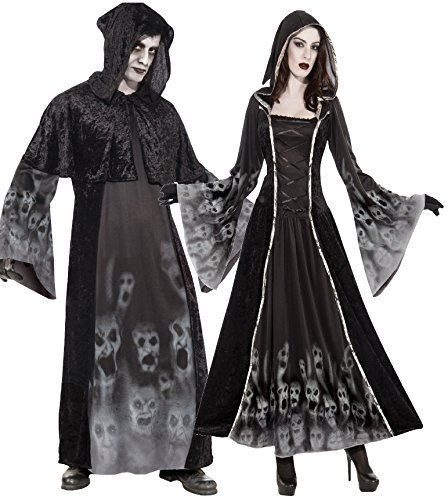 8974dbddf5cd Couples Ladies and Mens Spooky Scary Creepy Soul Reaper Eater Carnival Halloween  Fancy Dress Costumes Outfits  Amazon.co.uk  Clothing