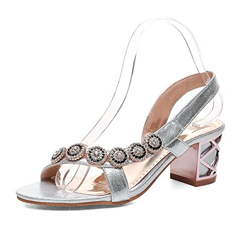 Kitten Material On Pull Solid Sandals Heels Silver Soft WeenFashion Toe Open Women's 1qIpEpwx0