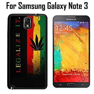 Legalize It Rasta Ganja Weed Custom Case/ Cover/Skin *NEW* Case for Samsung Galaxy Note 3 - Black - Plastic Case (Ships from CA) Custom Protective Case , Design Case-ATT Verizon T-mobile Sprint ,Friendly Packaging - Slim Case